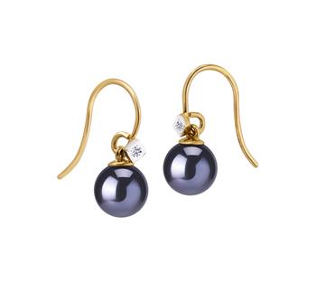 Artsy Noir 8-8.5mm AAAA-qualité perles d'eau douce 585/1000 Or Jaune-Boucles d'oreilles en perles