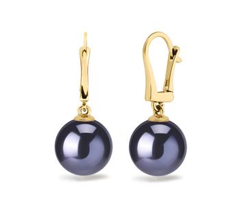 Elements Noir 8-9mm AAAA-qualité perles d'eau douce 585/1000 Or Jaune-Boucles d'oreilles en perles