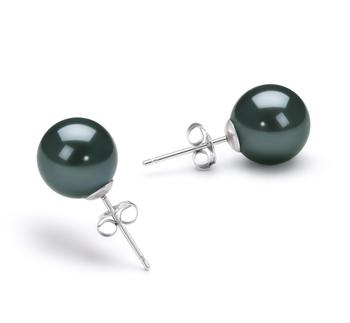 Noir 8-9mm AA-qualité Akoya du Japon-Boucles d'oreilles en perles