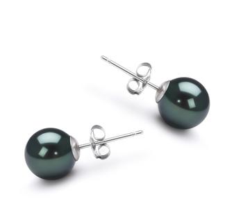 Noir 7-8mm AA-qualité Akoya du Japon-Boucles d'oreilles en perles