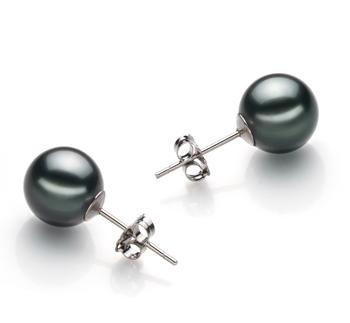 Noir 9-10mm AAA-qualité de Tahiti-Boucles d'oreilles en perles