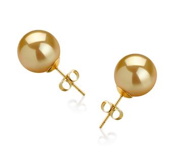 Or 10-11mm AAA-qualité des Mers du Sud-Boucles d'oreilles en perles