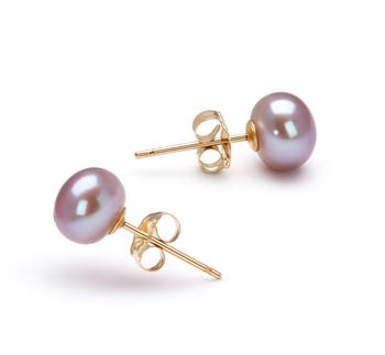 Lavande 6-7mm AAA-qualité perles d'eau douce-Boucles d'oreilles en perles
