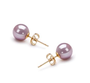 Lavande 6-7mm AAAA-qualité perles d'eau douce-Boucles d'oreilles en perles
