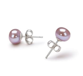 Lavande 6-7mm AA-qualité perles d'eau douce-Boucles d'oreilles en perles