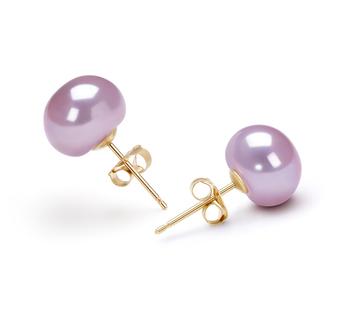 Lavande 9-9.5mm AAA-qualité perles d'eau douce-Boucles d'oreilles en perles