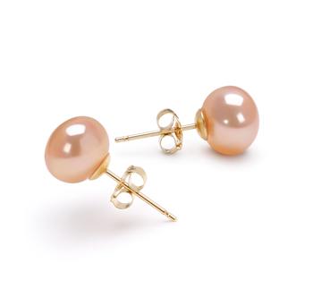 Rose 7-8mm AAA-qualité perles d'eau douce-Boucles d'oreilles en perles