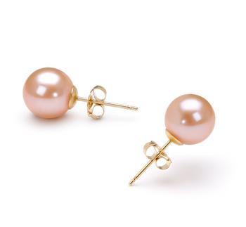 Rose 7-8mm AAAA-qualité perles d'eau douce-Boucles d'oreilles en perles