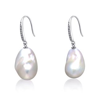 Blanc 14-15mm AA+-qualité perles d'eau douce - Edison 925/1000 Argent-Boucles d'oreilles en perles