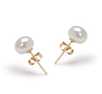 Blanc 6-7mm AAA-qualité perles d'eau douce-Boucles d'oreilles en perles