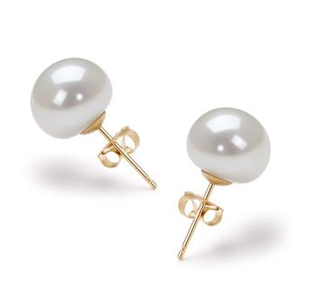 Blanc 9-10mm AAA-qualité perles d'eau douce-Boucles d'oreilles en perles