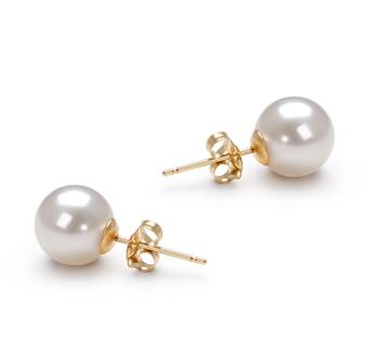 Blanc 7-8mm AAAA-qualité perles d'eau douce-Boucles d'oreilles en perles