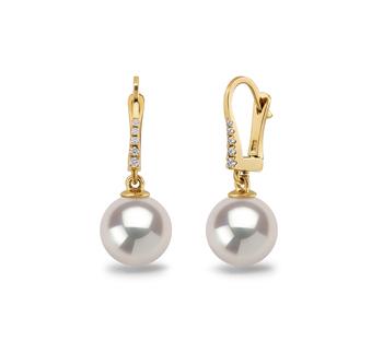 Sparkle Blanc 9-10mm AAAA-qualité perles d'eau douce 585/1000 Or Jaune-Boucles d'oreilles en perles