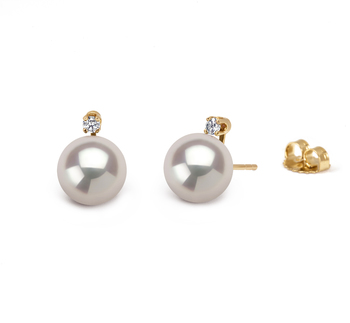 Eternity Blanc 9-10mm AAAA-qualité perles d'eau douce 585/1000 Or Jaune-Boucles d'oreilles en perles