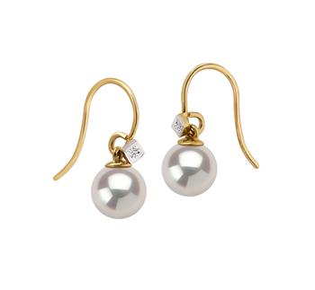 Artsy Blanc 7-8mm AAAA-qualité perles d'eau douce 585/1000 Or Jaune-Boucles d'oreilles en perles