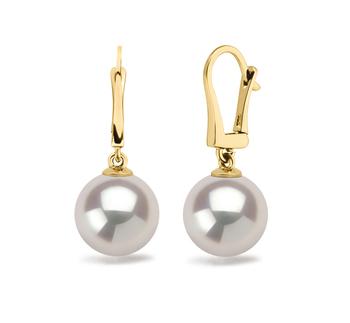 Elements Blanc 9.5-10mm AAAA-qualité perles d'eau douce 585/1000 Or Jaune-Boucles d'oreilles en perles