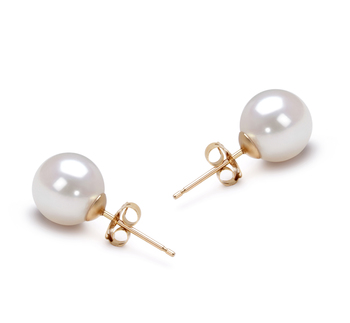 Blanc 7.5-8mm AAA-qualité Akoya du Japon-Boucles d'oreilles en perles