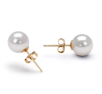 Blanc 7.5-8mm AA-qualité Akoya du Japon-Boucles d'oreilles en perles