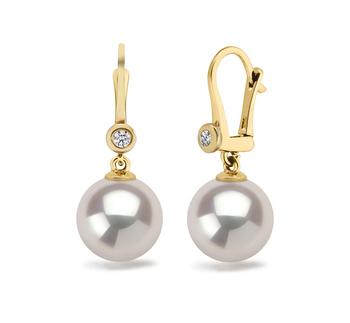 Illuminate Blanc 7.5-8mm AAA-qualité Akoya du Japon 585/1000 Or Jaune-Boucles d'oreilles en perles