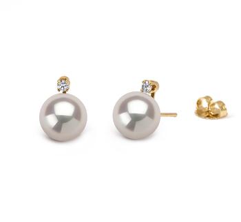 Eternity Blanc 7-8mm AAA-qualité Akoya du Japon 585/1000 Or Jaune-Boucles d'oreilles en perles