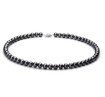Noir 6-7mm AA-qualité perles d'eau douce 925/1000 Argent-Collier de perles