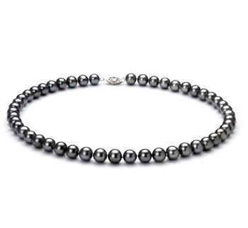 Noir 7.5-8.5mm AA-qualité perles d'eau douce 925/1000 Argent-Collier de perles