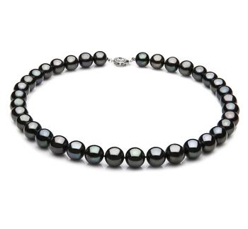 Noir 9.5-10.5mm AAA-qualité perles d'eau douce 925/1000 Argent-Collier de perles