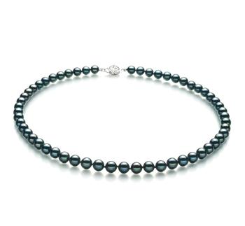 Noir 6.5-7mm AA-qualité Akoya du Japon 925/1000 Argent-Collier de perles
