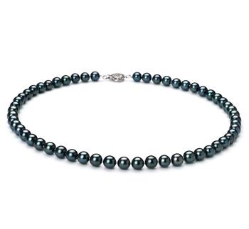 Noir 6.5-7mm AAA-qualité Akoya du Japon 925/1000 Argent-Collier de perles