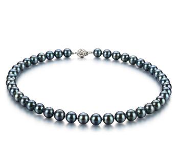 Noir 8.5-9mm AAA-qualité Akoya du Japon 925/1000 Argent-Collier de perles