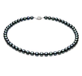 Noir 7-7.5mm AAA-qualité Akoya du Japon 925/1000 Argent-Collier de perles