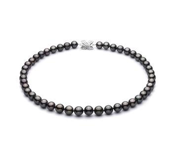 Noir 9.2-10.9mm AAA-qualité de Tahiti 585/1000 Or Blanc-Collier de perles