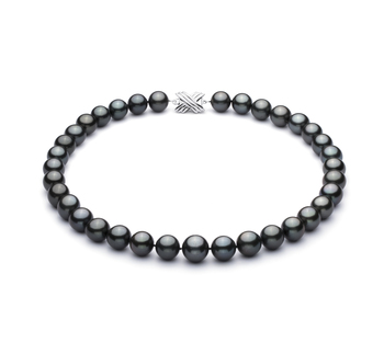 Noir 11.2-13.8mm AA+-qualité de Tahiti 585/1000 Or Blanc-Collier de perles