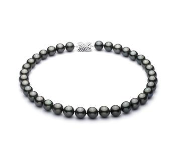 Noir 10.9-13.8mm AAA-qualité de Tahiti 585/1000 Or Blanc-Collier de perles