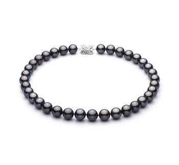 Noir 11.1-11.94mm AAA-qualité de Tahiti 585/1000 Or Blanc-Collier de perles