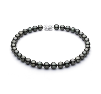 Noir 11.3-12.18mm AAA-qualité de Tahiti 585/1000 Or Blanc-Collier de perles