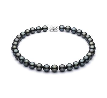 18'' Noir 12-12.93mm AAA-qualité de Tahiti 585/1000 Or Blanc-Collier de perles