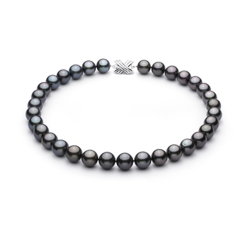 Noir 12.01-13.08mm AAA-qualité de Tahiti 585/1000 Or Blanc-Collier de perles