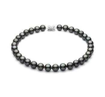 Noir 12-12.87mm AAA-qualité de Tahiti 585/1000 Or Blanc-Collier de perles