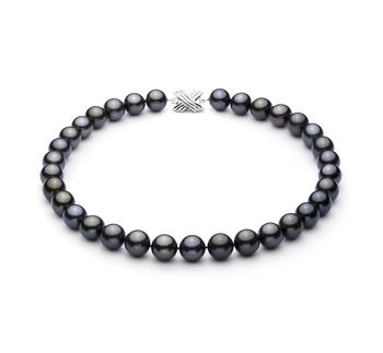 Noir 12-12.89mm AAA-qualité de Tahiti 585/1000 Or Blanc-Collier de perles
