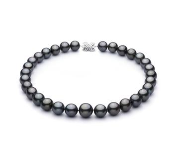 Noir 13.1-16mm AAA+-qualité de Tahiti 585/1000 Or Blanc-Collier de perles