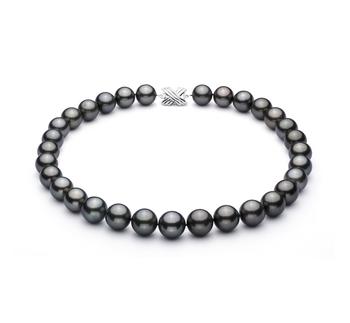 Noir 13-15.5mm AAA-qualité de Tahiti 585/1000 Or Blanc-Collier de perles