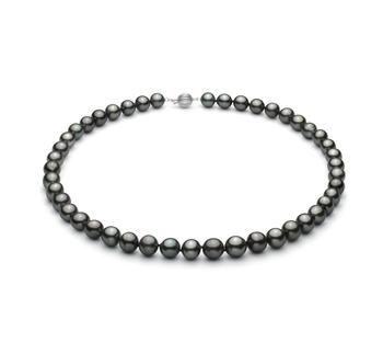Noir 8-10mm AA+-qualité de Tahiti 585/1000 Or Blanc-Collier de perles