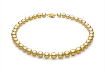 Or 9-11.7mm AAA-qualité des Mers du Sud 585/1000 Or Jaune-Collier de perles