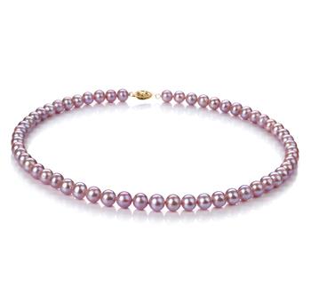 Lavande 6-6.5mm AA-qualité perles d'eau douce Rempli D'or-Collier de perles