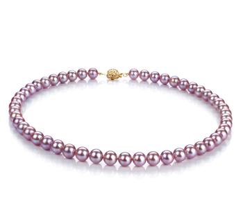 Lavande 7-8mm AAAA-qualité perles d'eau douce Rempli D'or-Collier de perles