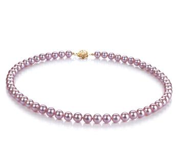 Lavande 6-6.5mm AAAA-qualité perles d'eau douce Rempli D'or-Collier de perles