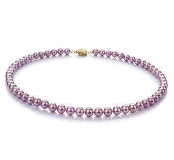 Lavande 6-7mm AAA-qualité perles d'eau douce Rempli D'or-Collier de perles