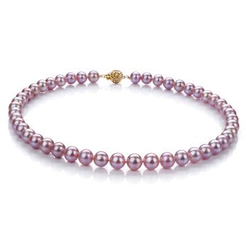 Lavande 8.5-9.5mm AAA-qualité perles d'eau douce Rempli D'or-Collier de perles