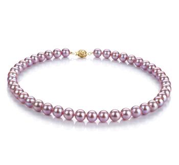 Lavande 8.5-9.5mm AAAA-qualité perles d'eau douce Rempli D'or-Collier de perles